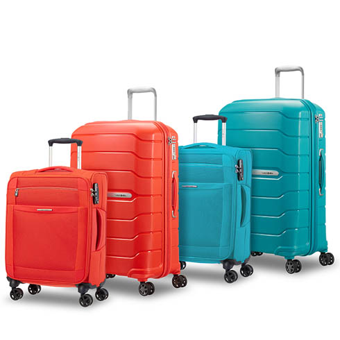 The Tagnerine Red and Ocean Blue match perfectly with the same colours of our hardside flux collection.
