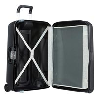 Large interior volume for practical suitcase packing.
